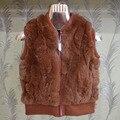New Real rex rabbit fur coat for childrens Jacket short solid fur vest for V-neck sleeveless Girls Clothing Children Vest Winter