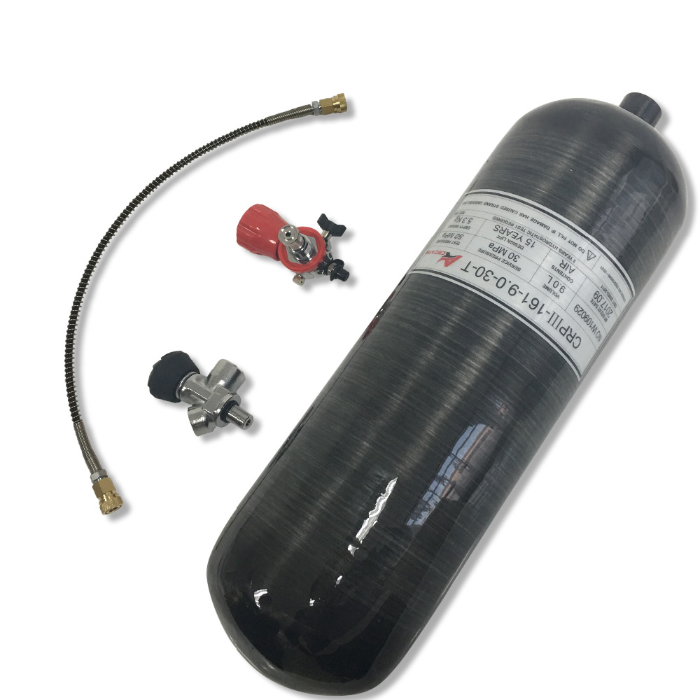 AC109301 Acecare New Paintball Pcp Hunting Air Gun 9L Tank 4500Psi Black Scuba Bottle Gas Cylinder Valve Pcp Filling Station