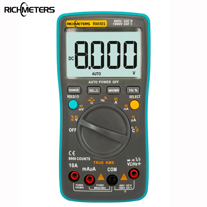 RICHMETERS RM301 Digital-Multimeter 8000 zählt Echteffektiv Zurück licht AC DC Spannung Amperemeter Strom Ohm Auto/Manuelle