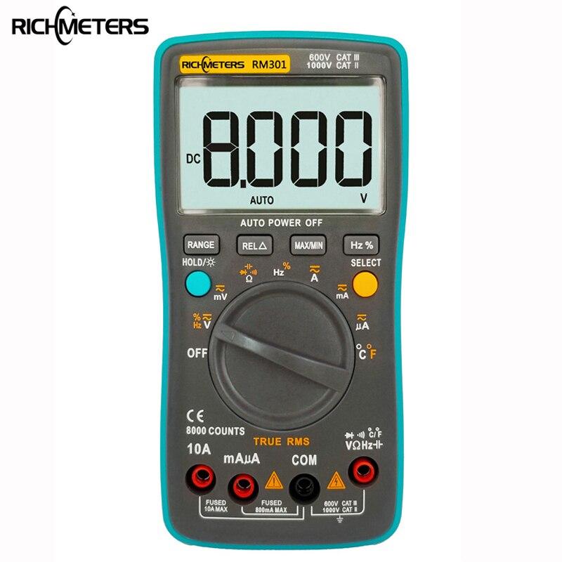 RICHMETERS RM301 multímetro Digital 8000 cuenta True-RMS luz trasera AC DC amperímetro de tensión corriente Ohm Auto/Manual