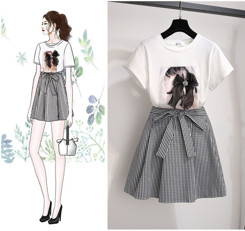 ICHOIX two pieces Skirt sets Plus size plaid skirt and white t shirt 2 pieces summer sets S-2XL 2 pieces outfits women suits