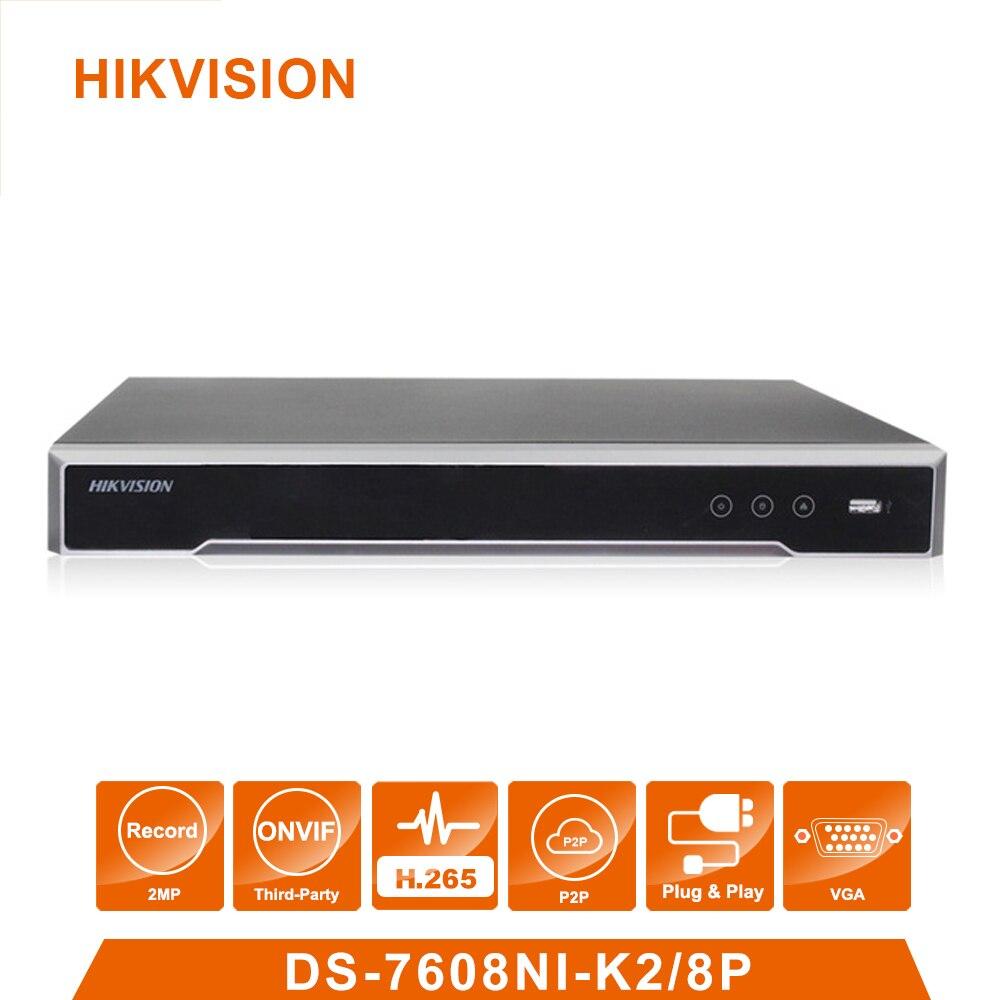 Original Hik Vision English Version DS 7608NI K2 8P 8 POE Ports 4K 8ch Cameras Plug