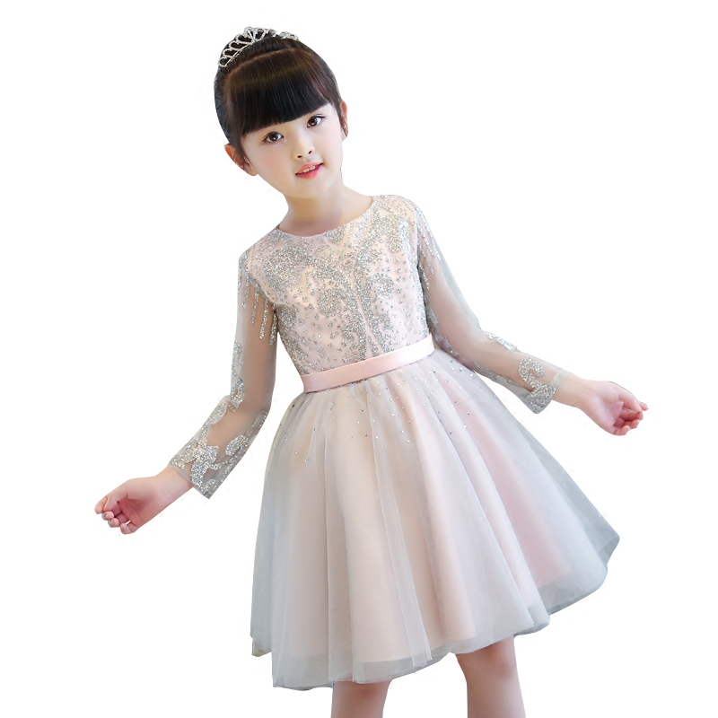 2017 New Elegant Children Girls Spring Autumn Long Sleeves Sequined Princess Dresses Baby Kids Wedding Birthday Clothes Size3-15 2017 new flower girls elegant sequined long mesh wedding birthday party dresses baby kids children vestidos infantil clothes