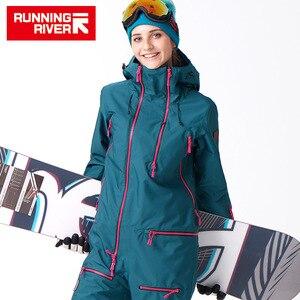 Image 1 - FIUME che scorre Marca Giacca Impermeabile Per le donne Snowboard Suit donne Giacca Da Snowboard Donna Snowboard Set Abbigliamento # B7091