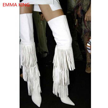 Autumn Winter White Fringe Thigh High Boots For Women Side Zipper Pointed Toe Thin High Heels Shoes Woman Over Knee Long Boots
