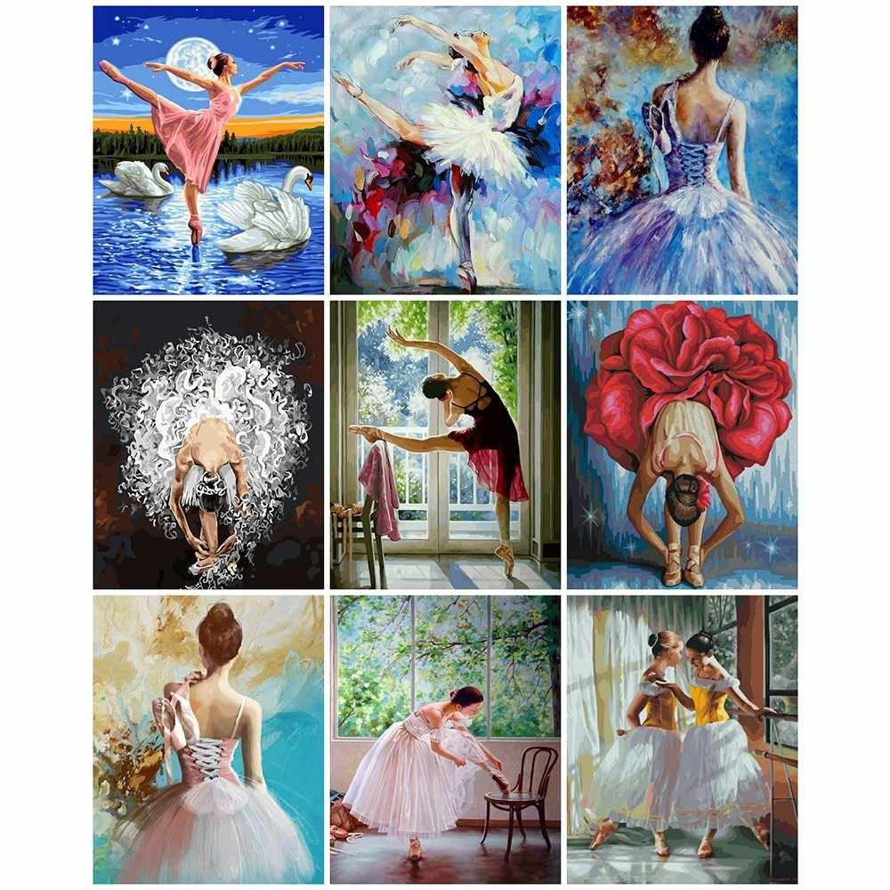 AZQSD DIY Painting By Numbers Ballet Dancer Frameless Acrylic Paint On Canvas Hand Painted Oil Painting For Home Decor Arts