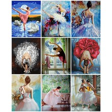 AZQSD DIY Painting By Numbers Ballet Dancer Frameless Acrylic Paint On Canvas Hand Painted Oil For Home Decor Arts