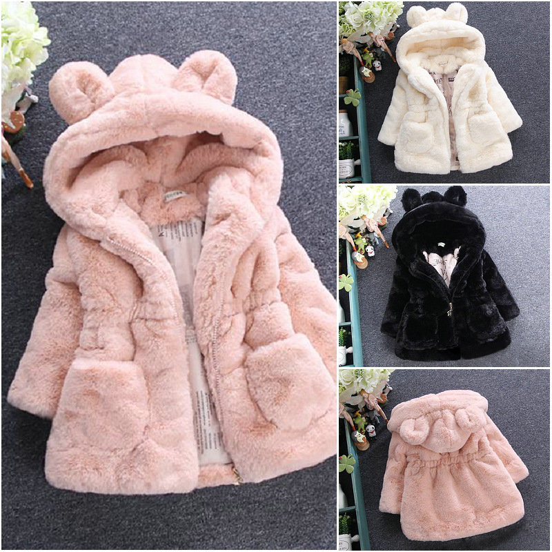 Fashion Kids Girls Winter Cute Jackets Hooded Coat Rabbit Ears Clothes W//Pockets