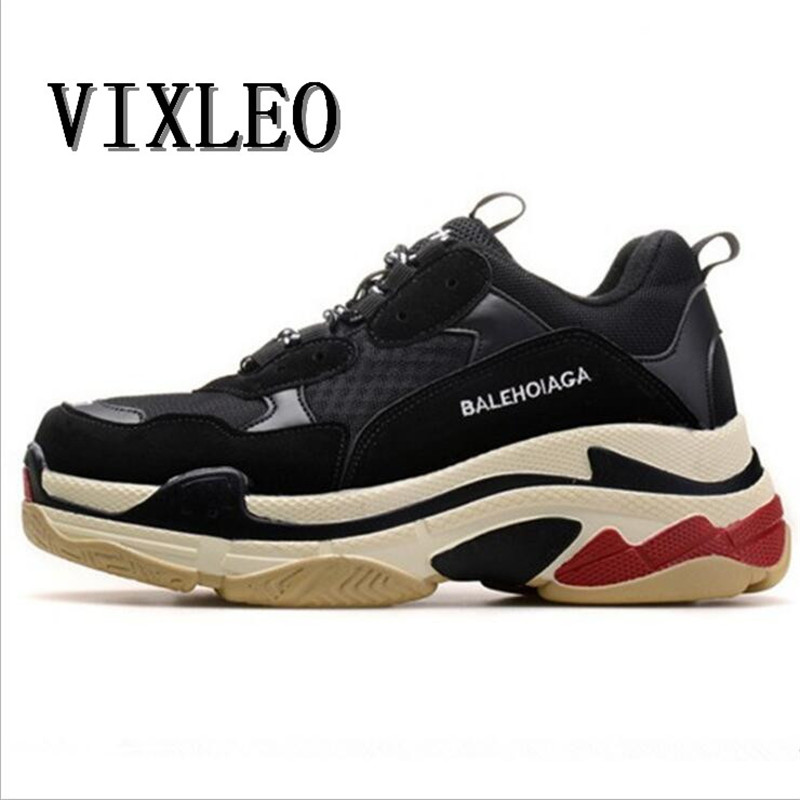 VIXLEO NEW Couple Sport Running Shoes Air Mesh Breathable Outdoor Cushion  Athletic Men Jogging Shoes Women Triple-S Sneaker