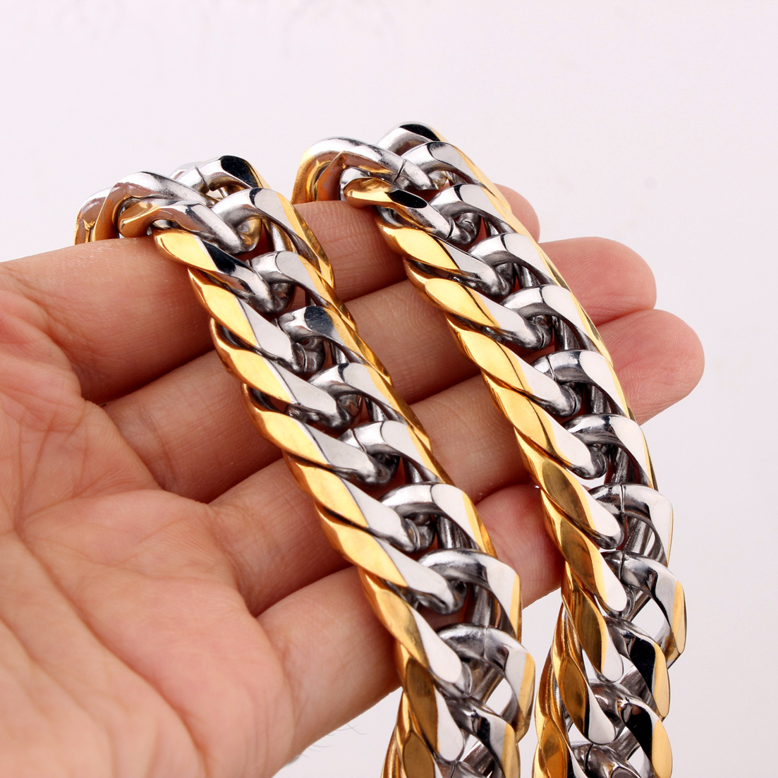 Punk Hip hop 13 16mm Cuban Link Silver Gold Chain Rapper Men Necklaces Street Fashion Popular Long Chain Jewelry Present in Chain Necklaces from Jewelry Accessories