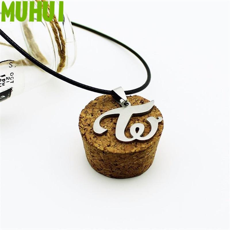 Kpop Group Twice W Logo Leather Titanium Steel Pendant Necklace For Women Jewelry Collares C062