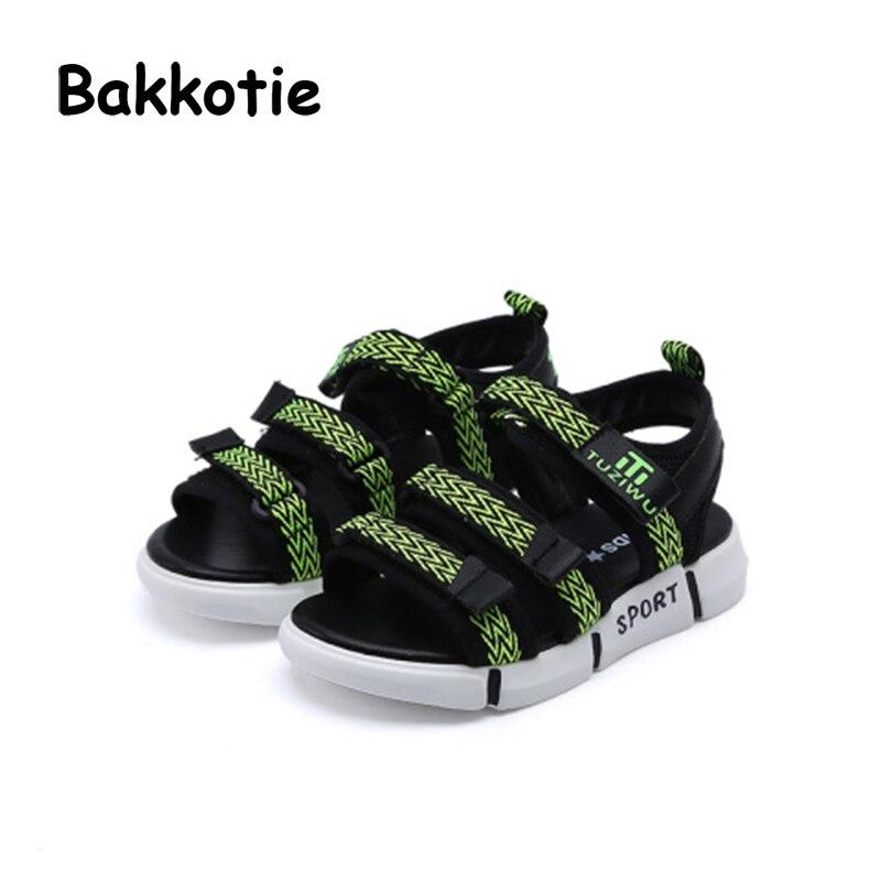 Bakkotie 2018 Summer New Baby Boy Fashion Beach Sandals Children Pu Leather Flats Toddler Brand Black Soft Casual Shoes Red Kid