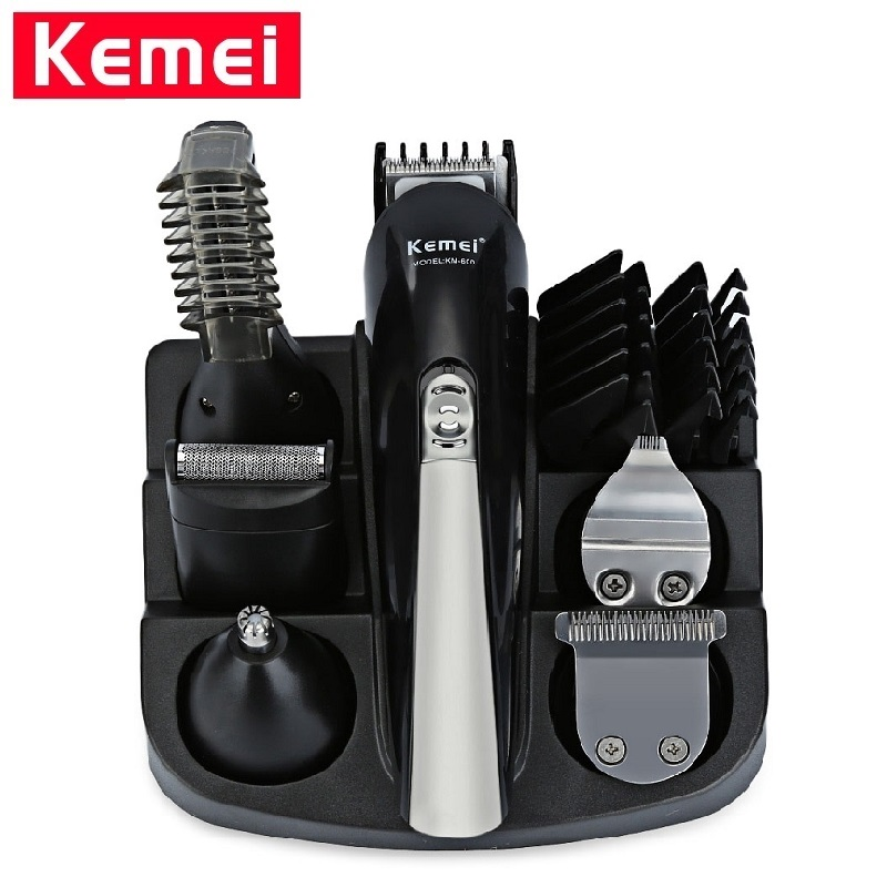Kemei KM-600 Professional Hair Trimmer 6 In 1 Hair Clipper Shaver Sets Electric Men Hair Cutting Machine Shaver Beard Trimmer