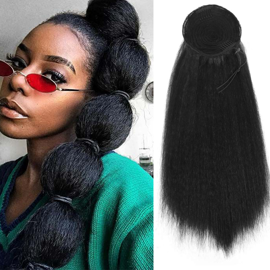 High Puff Afro Kinky Straight Wig Bubble Ponytail 30inch Drawstring Pony Tail ClipIn On Synthetic Hair Bun Extensions