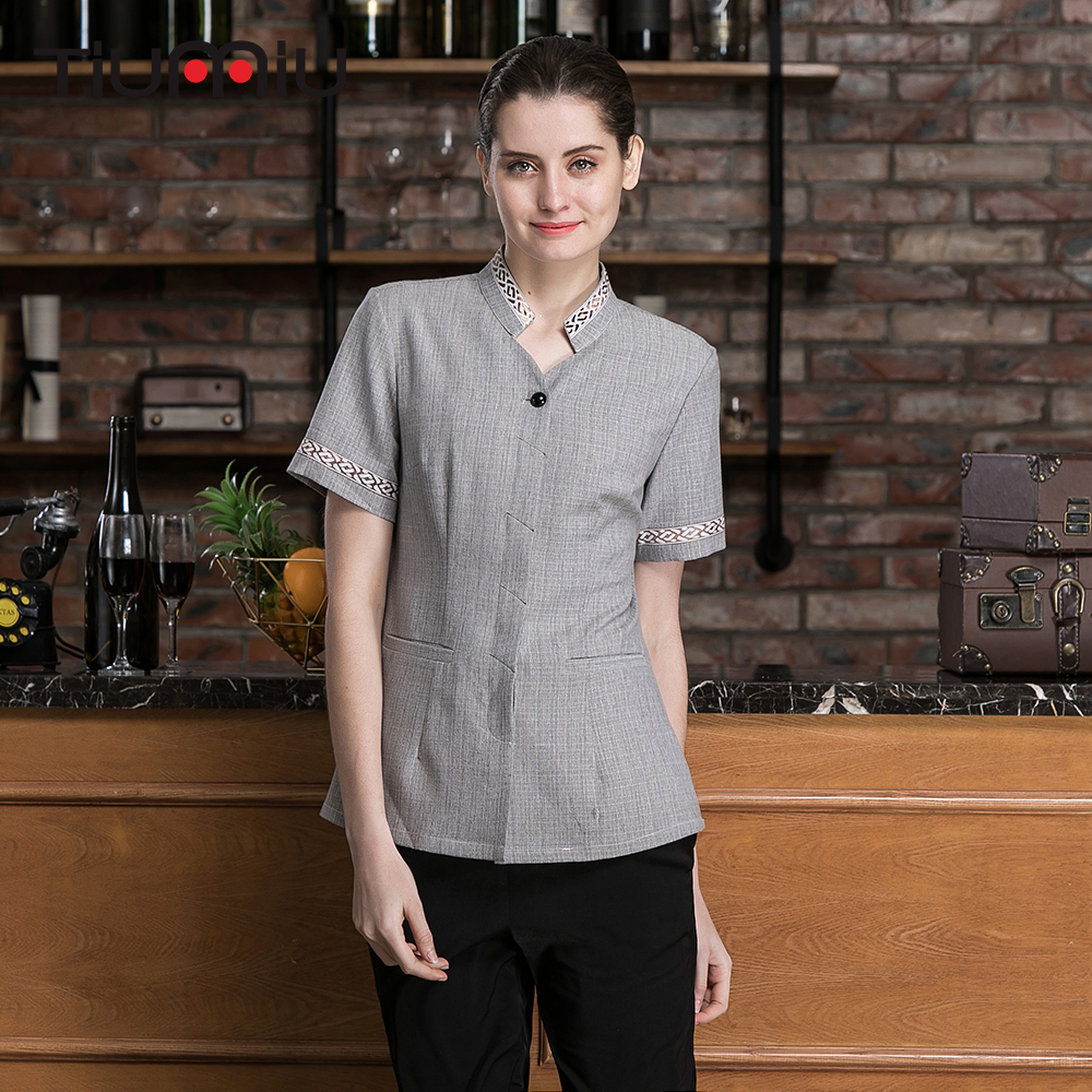 Housekeeping Uniforms Hotel Cleaning Uniform Waitress Short Sleeve Workwear Maid Room Service Shirt Summer Work Jacket S-4XL