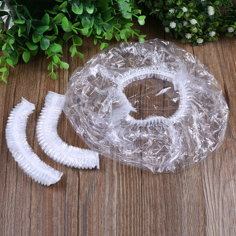 A Bag/100PCs Disposable Transparent Elastic Shower Cap For Hotel Home Bathing Spa Waterproof One-off Bathroom Shower Hat