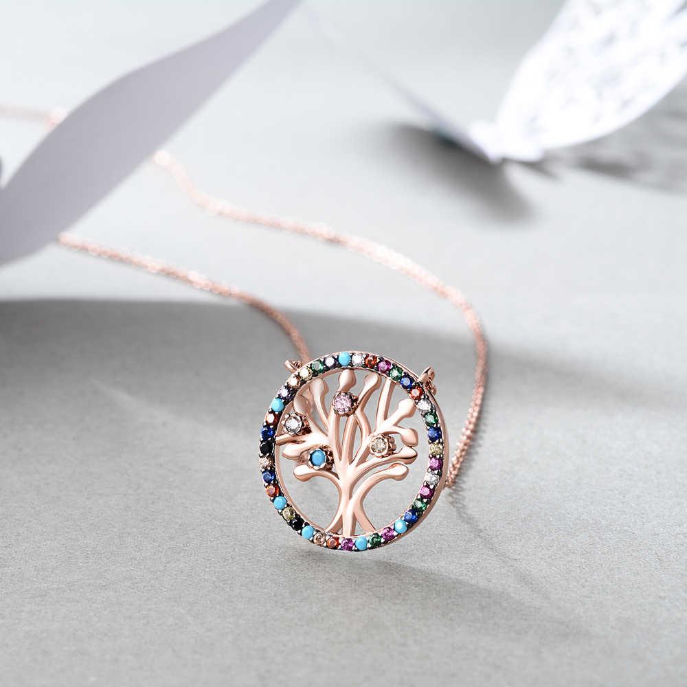 E เครื่องประดับต้นไม้เงิน 925 จี้สร้อยคอ Rose Gold Plated Rainbow CZ Zircon สร้อยคอสำหรับครอบครัว Jewellry ของขวัญ 2019