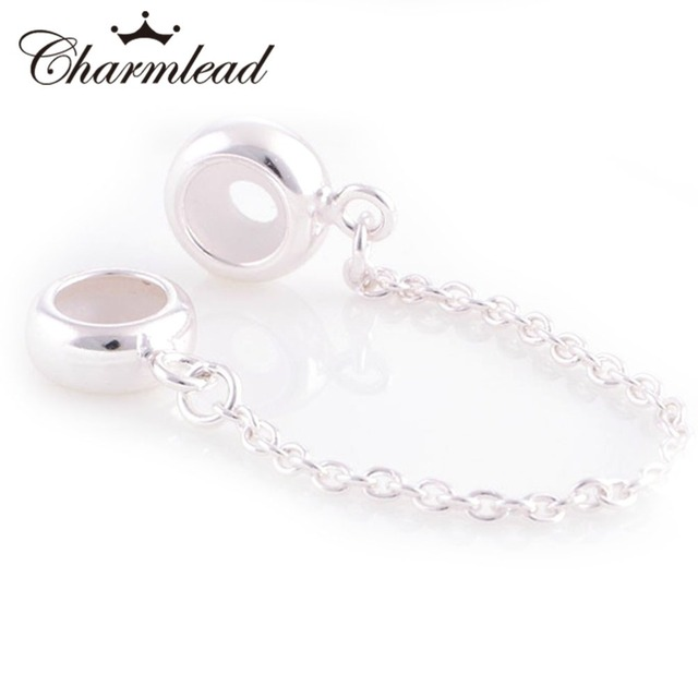 4246bcd68 Fits Pandora Charms Bracelet 925 Sterling Silver Stopper charm Bead Safety  Chain Charm DIY Bracelets for Women Jewelry Charmlead