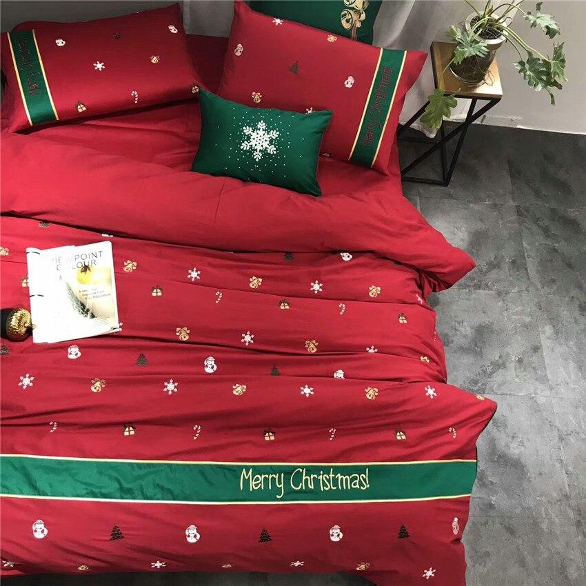 Queen Re set di Biancheria Da Letto di Lusso Rosso Verde Di Natale Regali Egiziano Del Ricamo Del cotone Duvet foglio di biancheria da Letto di copertura set Cuscino Decorativo