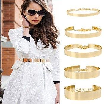 AWAYTR New Female Metal Wide Waistband Golden Women's Belt Waist Chain Skirt Coat Dress Accessories Luxury Chain Women Belt