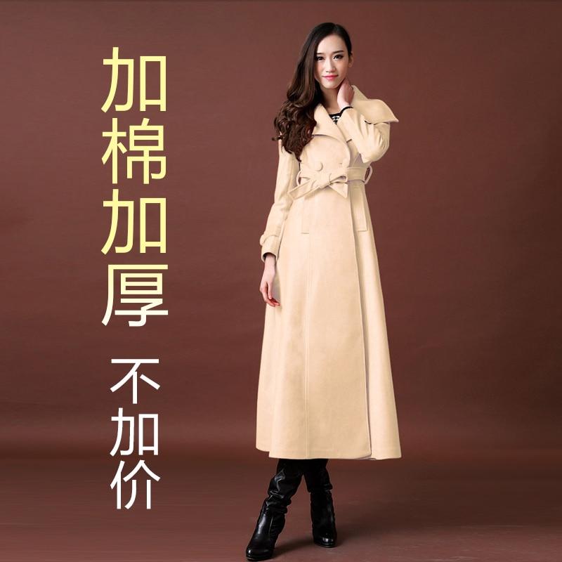 Новое осенне-зимнее шерстяное пальто ультра длинное дизайнерское утепленное шерстяное Женское пальто женское Шерстяное Пальто Верхняя одежда - Цвет: has cotton pad 09