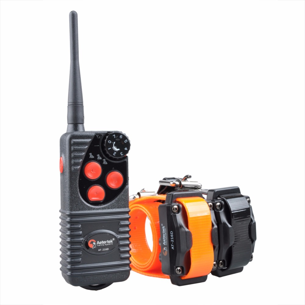 Aetertek 216D 2 Dogs Pets Shock Collar 600 Yards Remote Dog Training E collar with Beep
