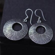 JINSE Ethnic Thai Hand Made Sterling 925 Silver Round Dangle Drop Earrings Vintage Matt Retro Craft Woman Jewelry