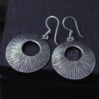 JINSE Ethnic Thai Hand Made Sterling 925 Silver Round Dangle Drop Earrings Vintage Matt Retro Craft Woman Jewelry