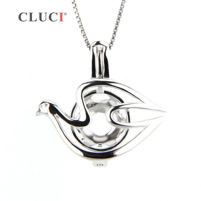 Cluci 925 sterling silver dove locket bead cage pendant cluci 925 sterling silver dove locket bead cage pendant interesting gift necklace charms can put mozeypictures Image collections