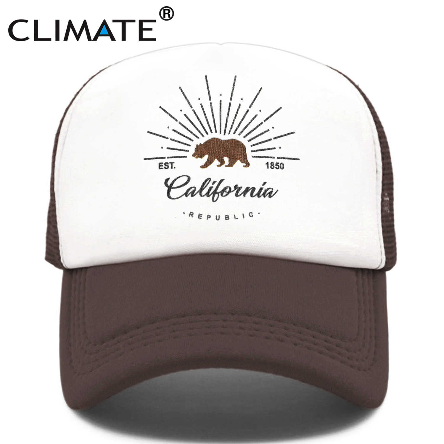 Clima California Trucker Cap Orso California Repubblica Bandiera Caps Uomini Donne Hip Hop Cappello Divertente Fresco Berretto da Baseball Della Maglia di Estate cap