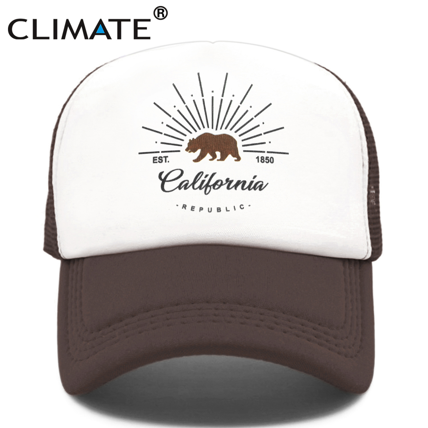 CLIMATE California Trucker   Cap   Bear California Republic Flag   Caps   Men Women Hip Hop Funny Hat   Baseball     Cap   Cool Summer Mesh   Cap