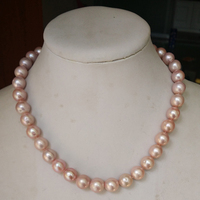 17 inches AA 11 12mm Natural Lavender Round Pearl Necklace with Hoop Sterling Silver Clasp