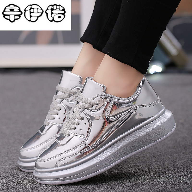 2018 Patent Leather Gold Women Casual Shoes Spring Autumn Comfort Platform Ladies Sneakers Lace Up Flat Women Shoes 35-40 beffery 2018 british style patent leather flat shoes fashion thick bottom platform shoes for women lace up casual shoes a18a309