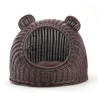 Pet Woven Cave Bed Kitty Condo House Sleeping Bed for Cats and Puppies Ventilate Sleeping Cave Bed S L Two Size Good For Summer