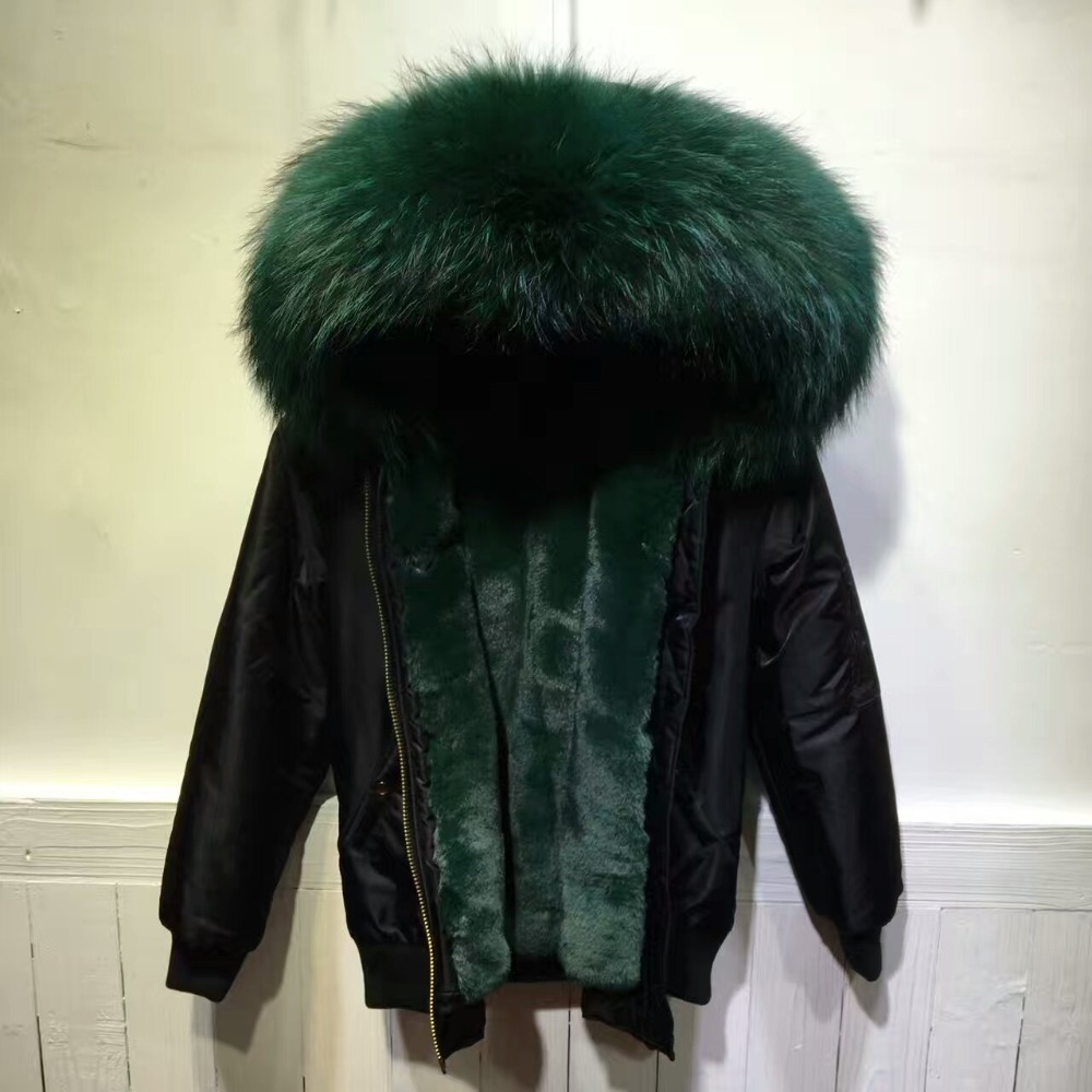 Aliexpress.com : Buy Black bomber fur parka with dark green faux ...