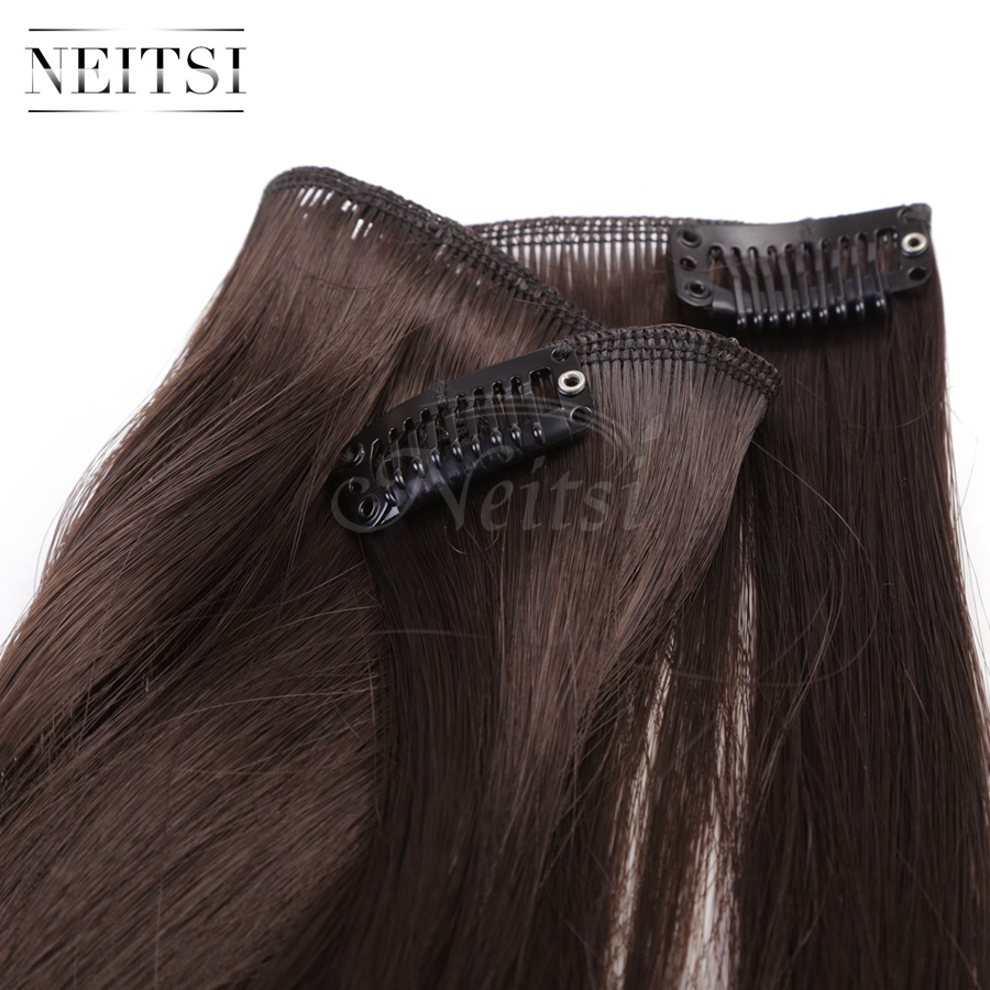 Купить с кэшбэком Neitsi 14'' 3Pcs/Set 75g Clip in on Synthetic Hair Extensions Straight Hairpieces Middle Brown 570#