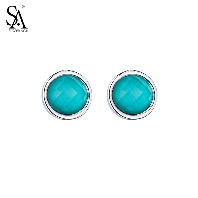 SA SILVERAGE Real 925 Sterling Silver Stud Earrings Fine Jewelry for Women Blue Round Stone 2016 New Top Quality Black Friday