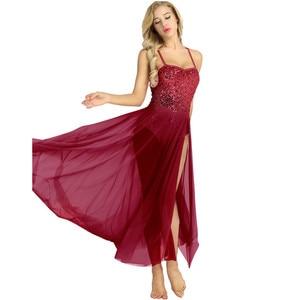 Image 2 - Kadın yetişkin bale elbise pamuk spagetti kayışı kolsuz payetli Leotard Bodysuit bale Dancear bölünmüş örgü Maxi etek