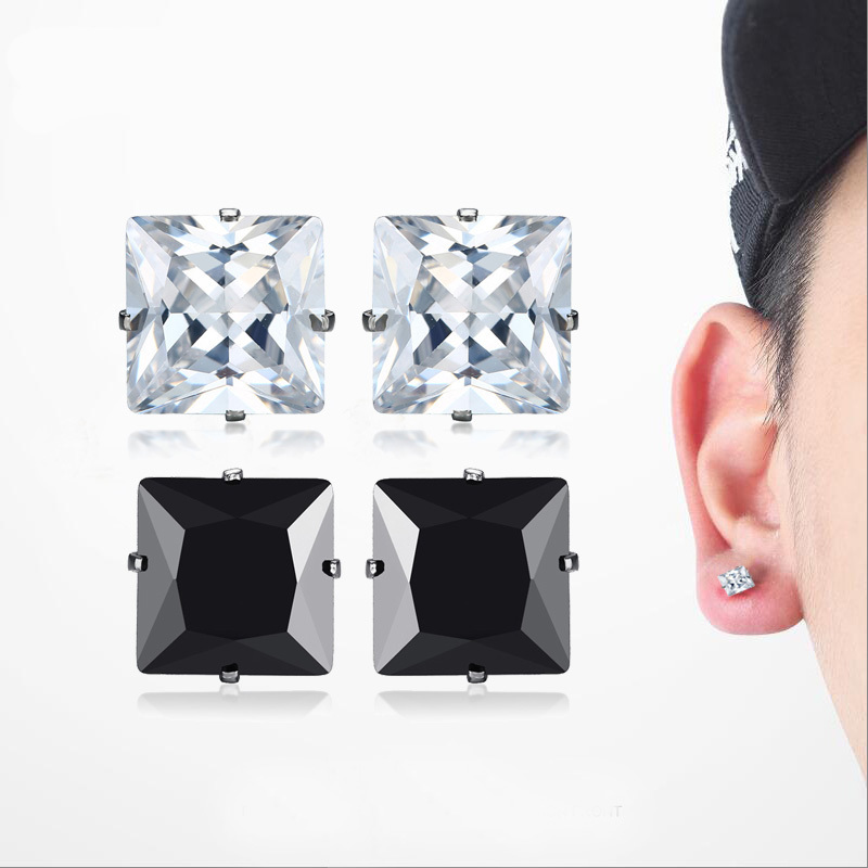 2 Pairs 8.6mm White and Black Square Cubic Zirconia Cut Zirconia Earing Stainless Steel Stud Earrings Sets Male Famale Jewelry