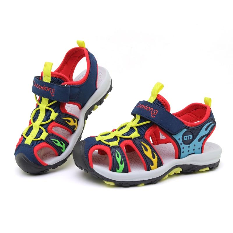 ULKNN Boys  Closed Toe Breathable Mesh Children Shoes sandalia infantil Summer Boys Sandals Leather Shoes For Kids Beach Sandals