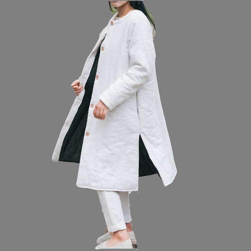 Yeni Kış Pamuk Keten Kadın Retro Gevşek Yastıklı Ceket Trençkot Kadın 2016 Tek Göğüslü Palto Dış Giyim Katı Renk