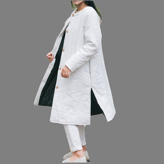 New Winter Cotton Linen Female Retro Loose Padded Coat Trench Coat Women 2016 Single Breasted Overcoat Outwear Solid Color