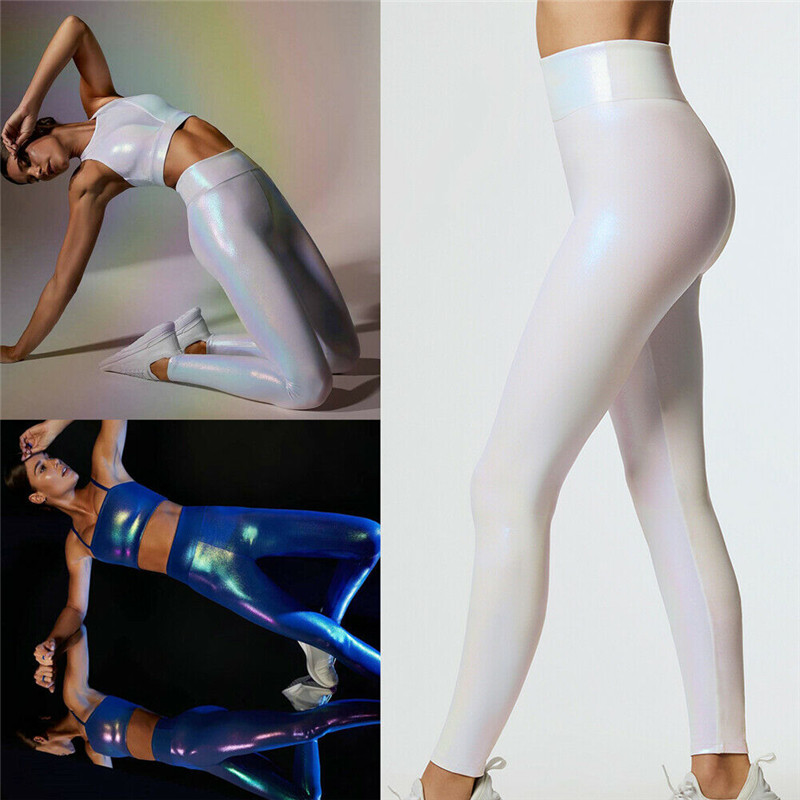 Women Colorful High Waist   Leggings   Elastic Long   Leggings   Iridescence PU Leather Skinny Trousers High Street Holiday Pencil Pant