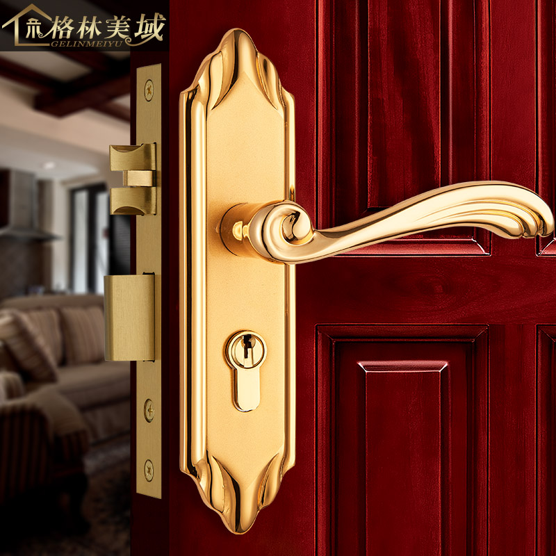 Full copper European door lock bedroom door lock interior door lock pure copper door lock ceramic lock the door when indoor european ball lock hold hand lock copper core ss