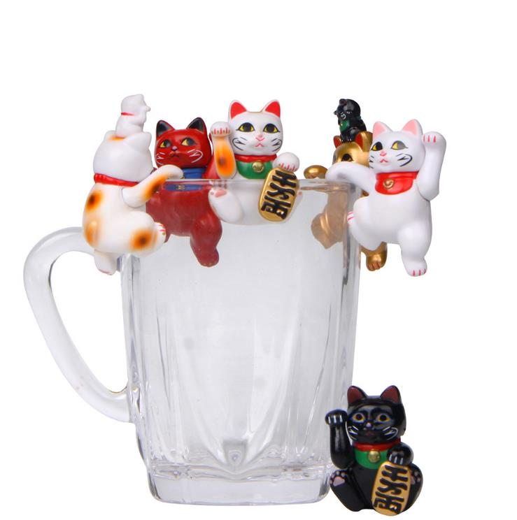1pc New Cartoon Lucky Cats Model The Edge Of Cup Action Figure Doll PVC DIY Decor Miniatures Craft Ornaments Gift