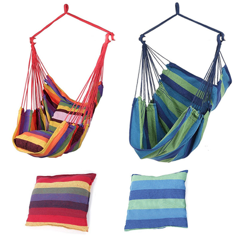 Outdoor Garden Hammock Swing Chair Hanging Chair Bed Chair Seat With 2 Pillows Adults Kids Leisure Swing Chairs 130x100cm