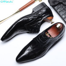 2019 Italy mens formal crocodile shoes genuine leather Wedding office dress Footwear Handmade oxford