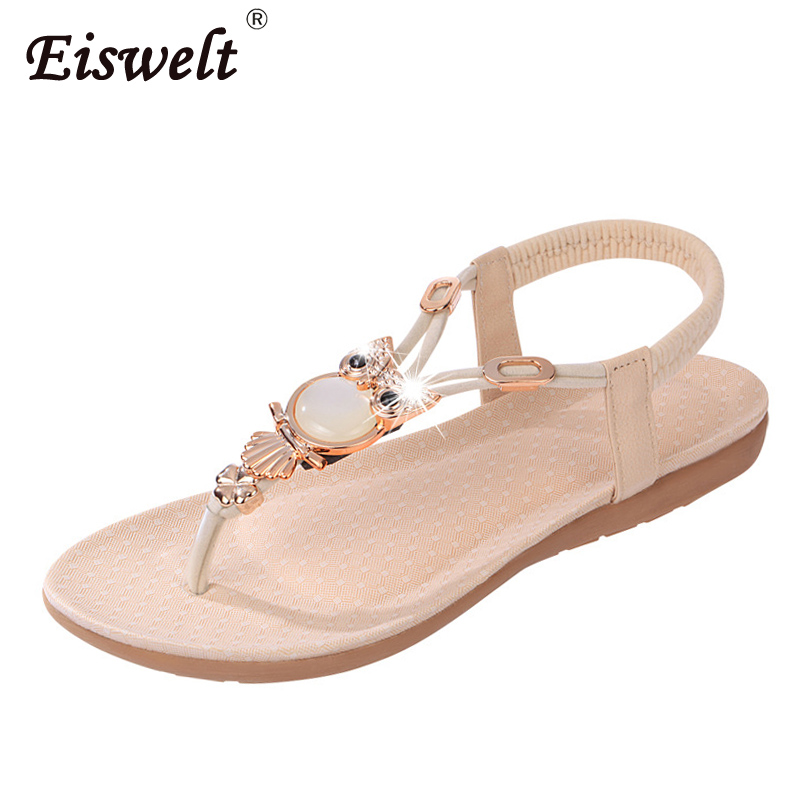 EISWELT New Women Sandals Summer Fashion Flip Flops Female Sandals Flat Shoes Bohemia Causal Ladies Footwear Solid Women Shoes new summer women sandals fashion jelly shoes flip flops casual women flat sandals shoes female footwear beach shoes bottomed toe