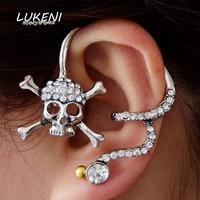 LUKENI 2Pcs/Lot Fashion Jewelry 2017 Punk Skeleton Skull Ear Cuff   Earring Jackets  For Women And Men EJ012