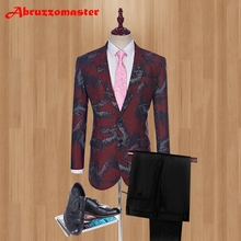 New Design Printed Groom Tuxedos 2 buttons Groomsman Suit Custom Made Man Suit Stage Wear wedding suits (Jacket+pants)